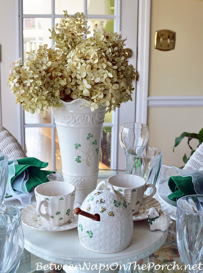 St. Patrick's Day Table Centerpiece with Belleek Kylemore Honey Pot