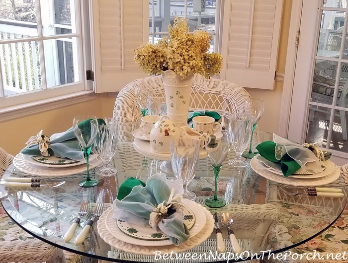 St. Patrick's Day Table Setting, Belleek Vase, Kylemore Honey Pot