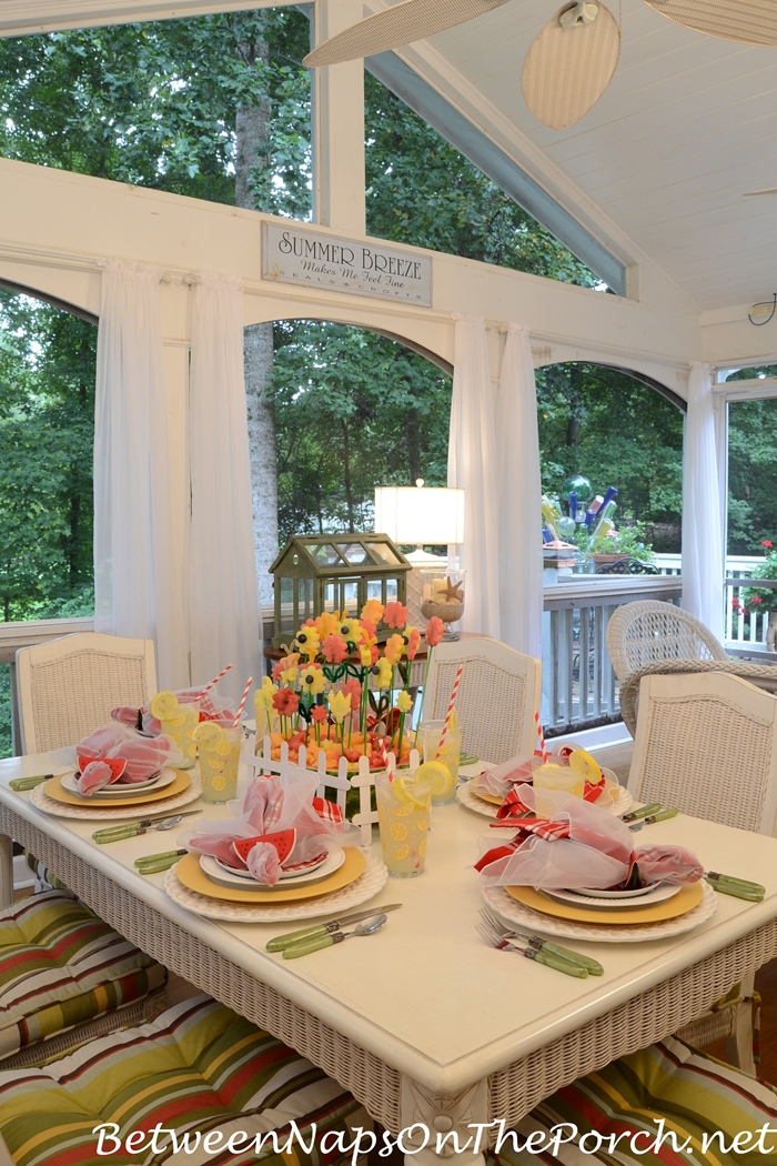 Summer Dining on the Porch, Watermelon Centerpiece