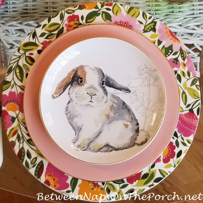 Sweet Bunny Plate, Floral Charger for Spring & Easter