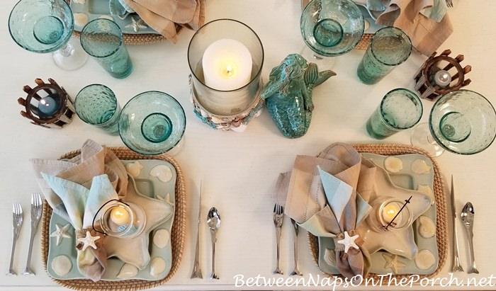 Beach-Themed Table in Aqua