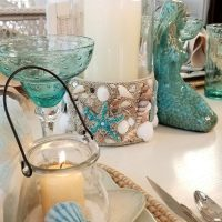 Beachy Shell Candle Lantern Centerpiece
