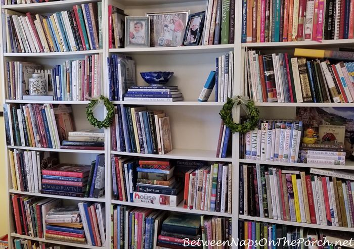 Bookshelves in Office, Clearing them for a lamp