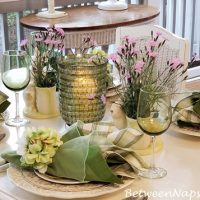 Dining on a Screened Porch, Spring Table Settings