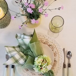 Floral Spring Tablescape with Bath's Pink Dianthus