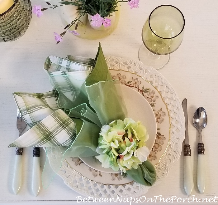 Hydrangea Napkin Ring with Green, White & Tan Plaid Napkins, Spring Table Setting