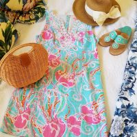Lilly Pulitzer Dress, Jack Rogers Sandals, Sun Hat with Bow, Wicker Handbag