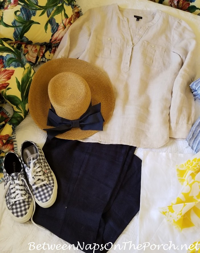 Linen Shirt, Linen Pants, Blue Check Supergas, Sun Hat with Navy Bow