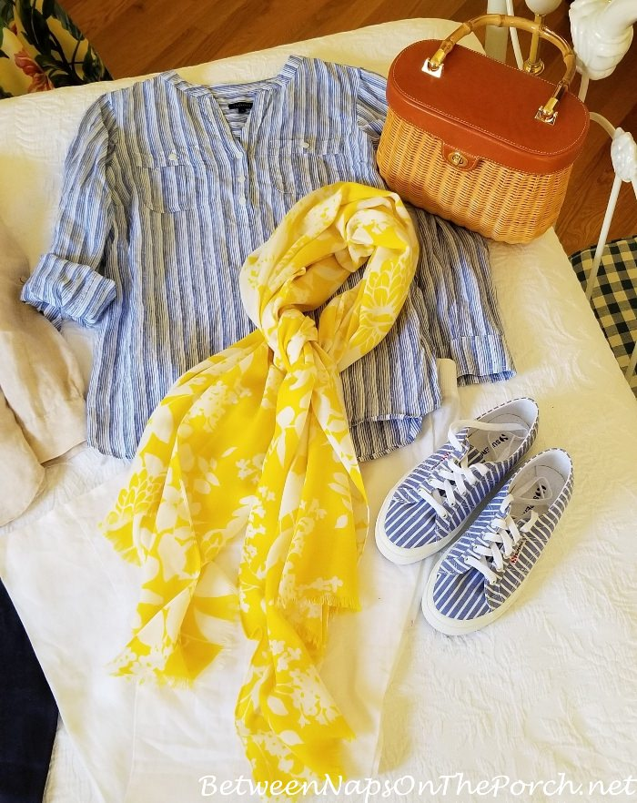 Linen Striped Top, White Linen Pants, Blue-White Stripe Superga Sneakers, Wicker Dress