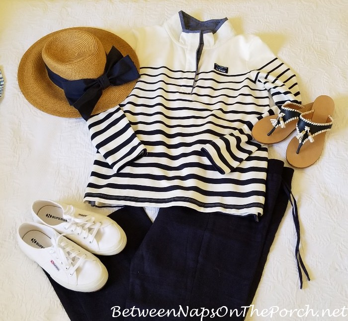 Navy and White for Summer, Jack Rogers Sandals, White Superga Sneakers
