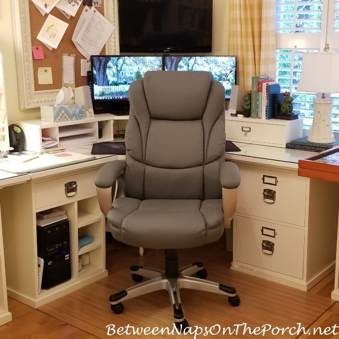 New Desk Chair, Gray with Leather Seat