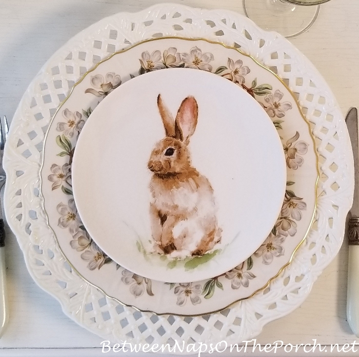 Pasture Bunny Salad Plate with Syracuse Orchard Dinner Plate, Spring Table