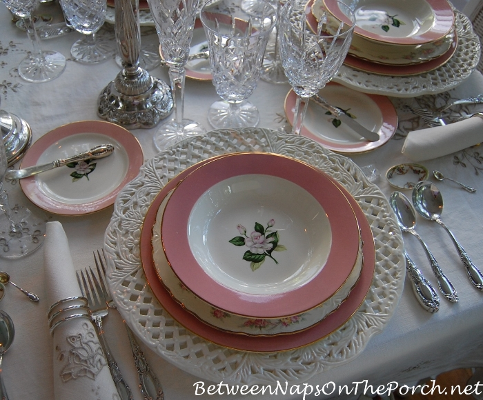 Pink China in Elegant Table Setting, International Glenwood
