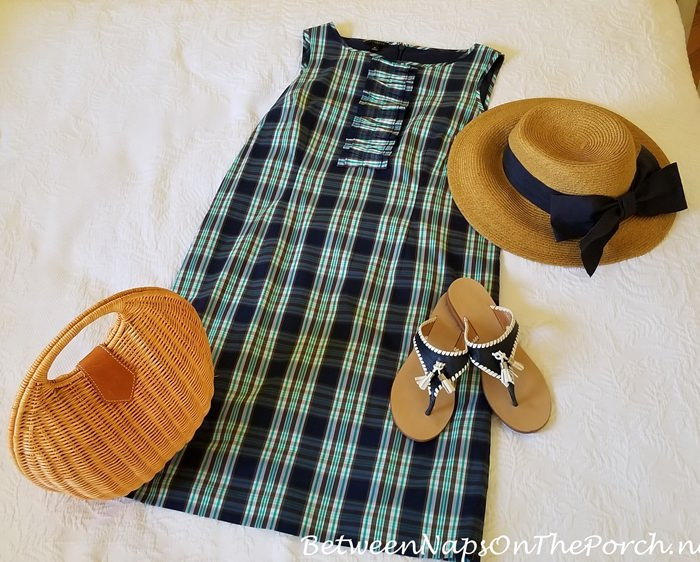Plaid Dress, Sun Hat with Navy Bow, Jack Rogers Sandals, Wicker Handbag