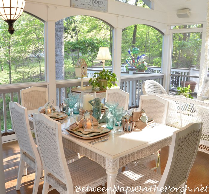 Screend Porch Dining for Summer
