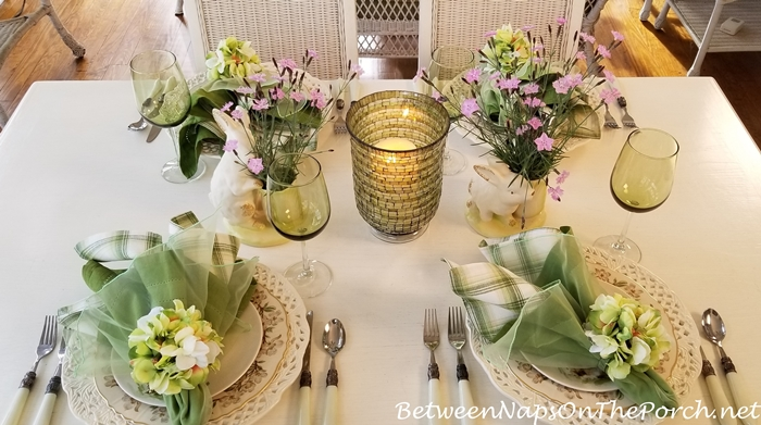 Spring Bunny Table, Bath's Pink Dianthus, Hydrangea Napkin Rings, Syracuse Orchard