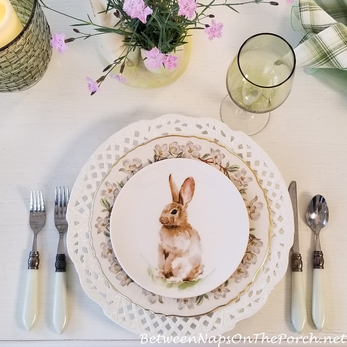 Spring Table with Bunny Salad Plate