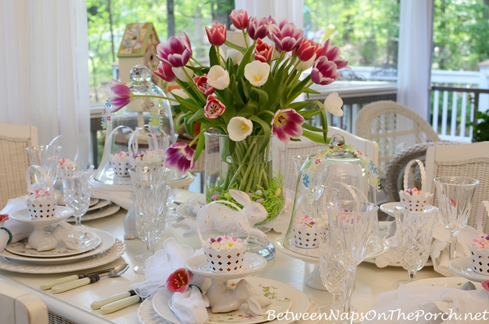 Spring Table with Tulip Centerpiece