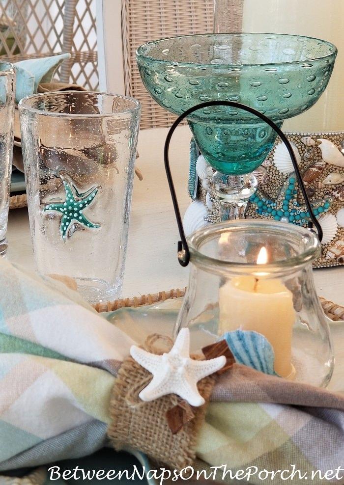 Starfish Glasses, Bubble Glass Margarita Glasses