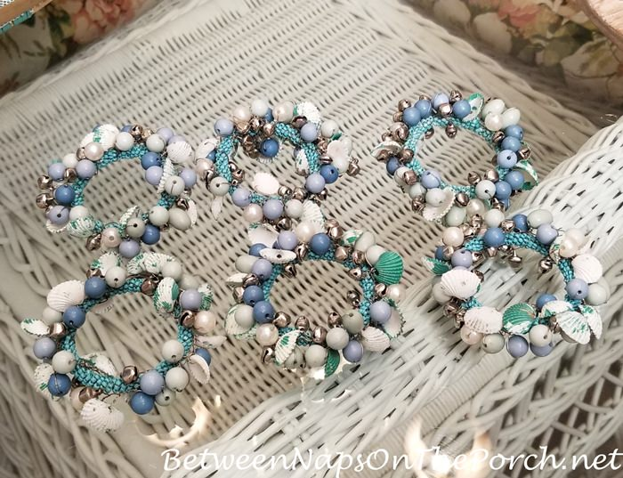 Aqua Shell, Bead and Bell Napkin Rings