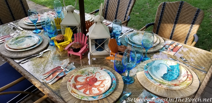 Beach Themed Table Setting, Driftwood Chargers 2