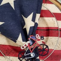 Star Napkin, Bicycle Napkin Ring, Flag Dishware, Patriotic Table Setting