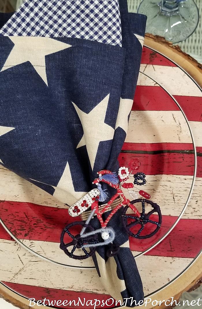 Star Napkin, Bicycle Napkin Ring, Flag Dishware, Patriotic Table Setting