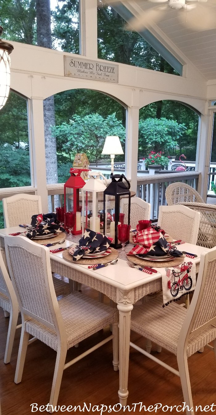 4th of July Patriotic Beach Table Setting