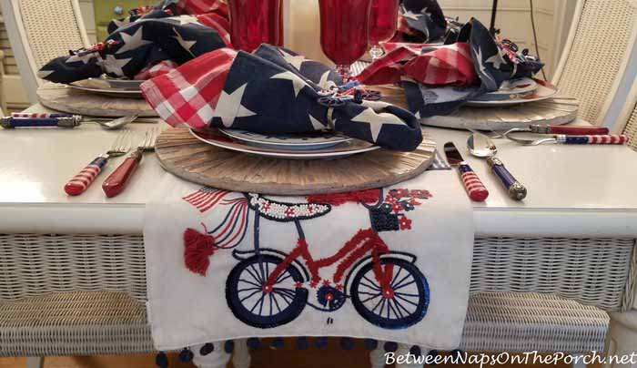 4th of July Table Runner, Bicycle Motif