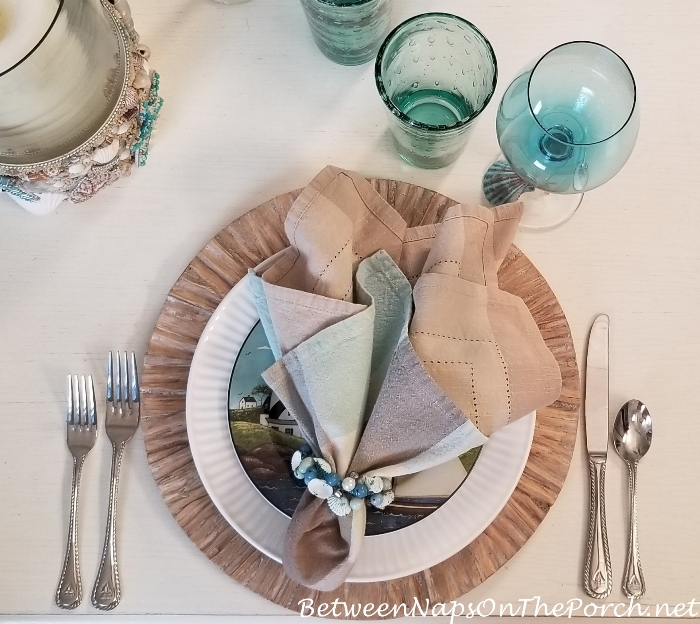 Beachy tablescape in soft aqua and sand colors