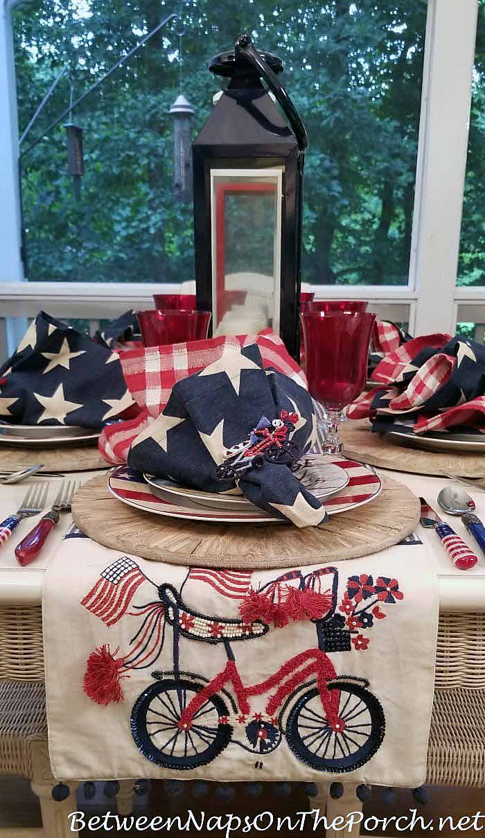 Bicycle Runner for 4th of July Table Setting