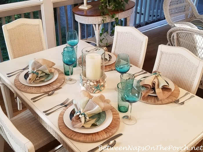 Casual Dining on the Porch, Beach Themed Table