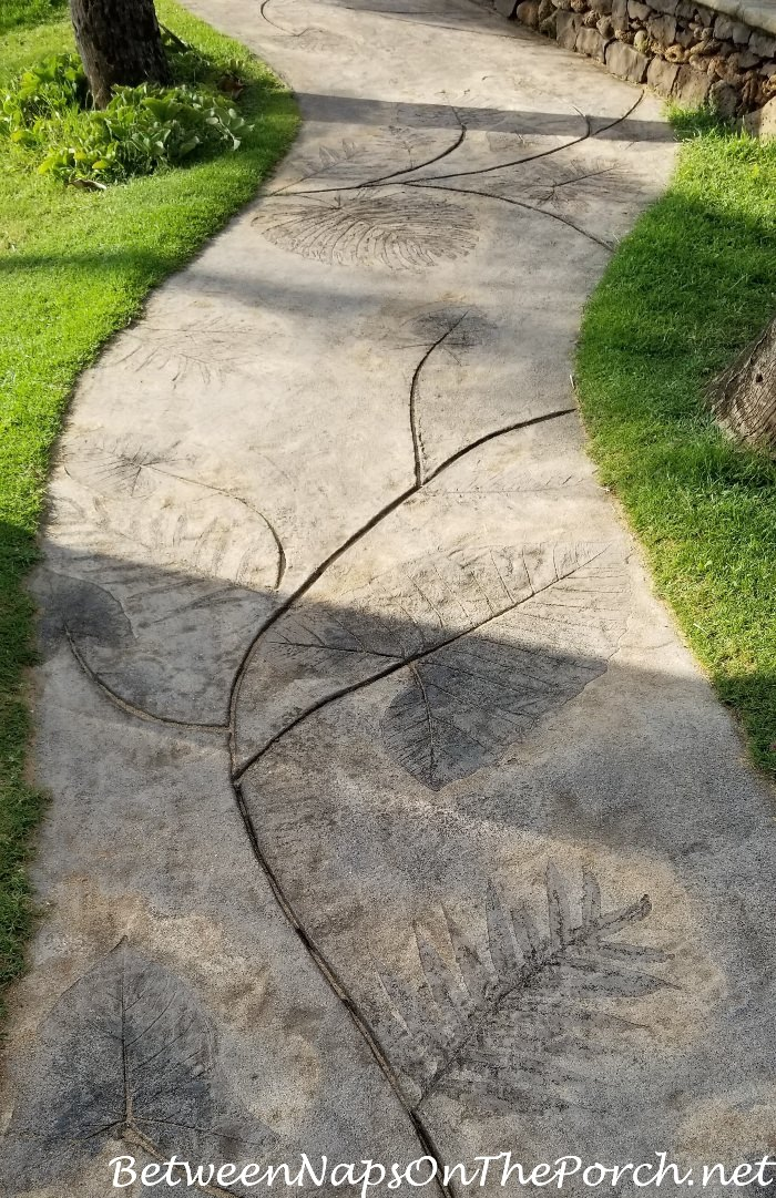 Concrete Walkway with Vine-Leaf Design