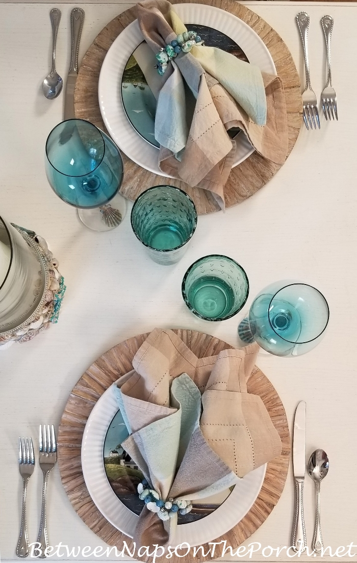 Nautical Beach Table in Soft Aqua Blue and Sandy Beige Colors