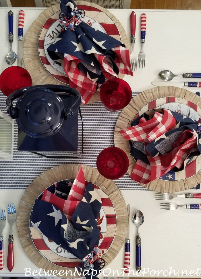 Patriotic Table in Red, White and Blue