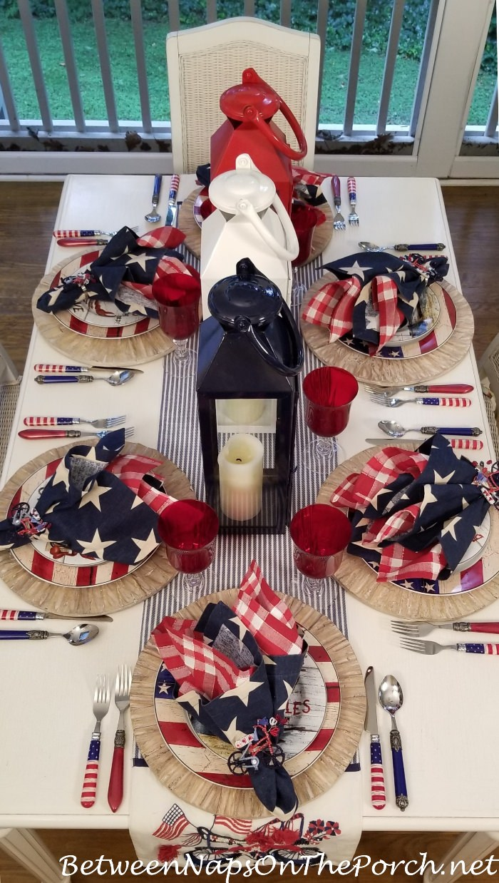 Red, White Blue for 4th of July Tablescape