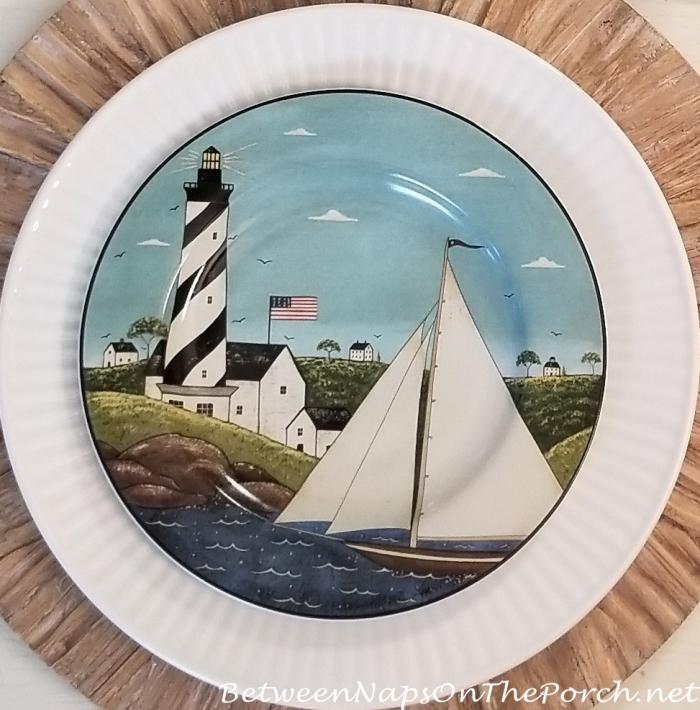 Warren Kimble, Coastal Breeze Sailboat and Lighthouse Plates