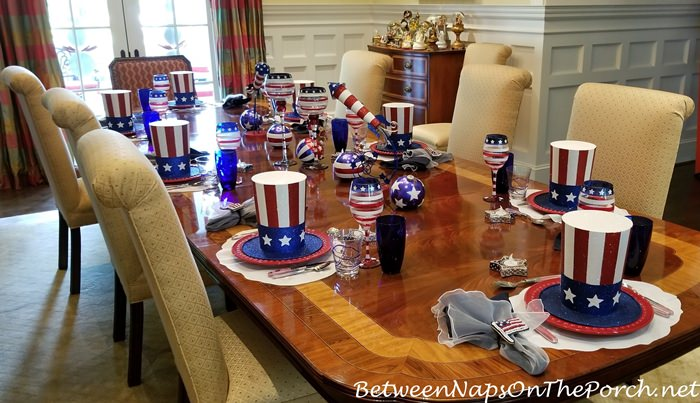 4th of July Table in Red, White and Blue