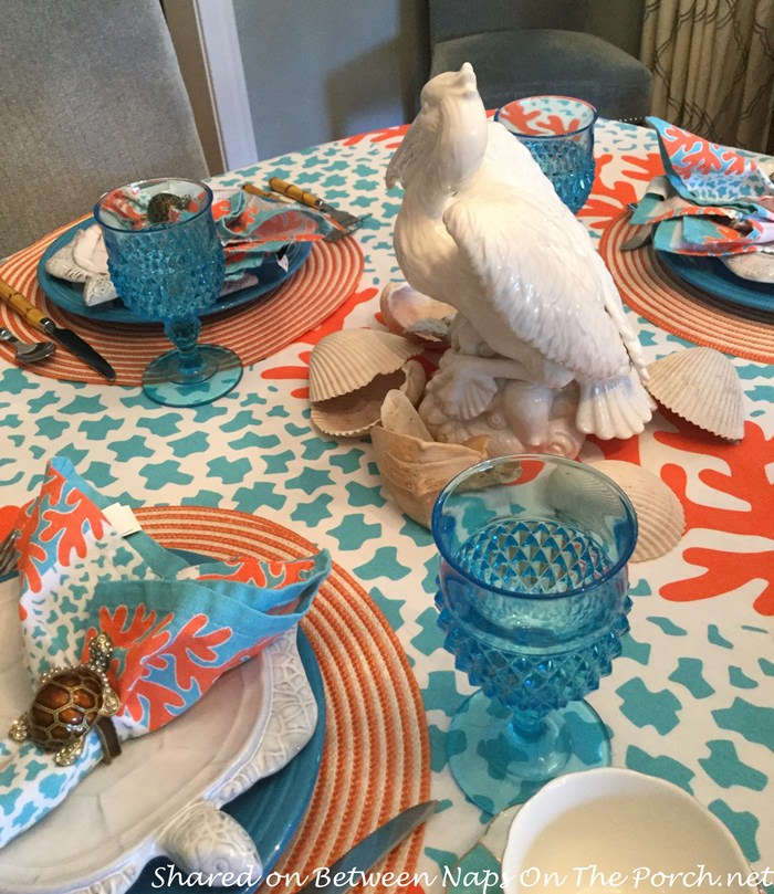 Beach-Ocean Themed Table with Pelican Centerpieces
