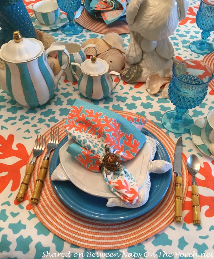 Beachy Sea Turtle Table Setting