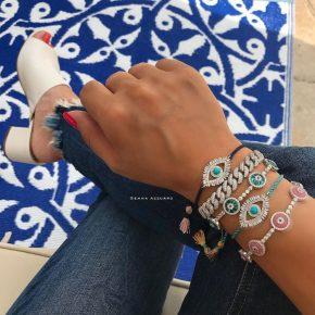 Beautiful Evil Eye Bracelets, Pink, Aqua
