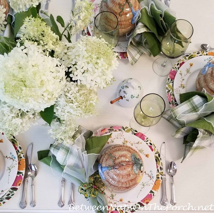 Bee Flatware for a Summer Table, Limelight Hydrangea Centerpiece