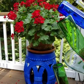 Bright Blue Garden Seat as Plant Stand
