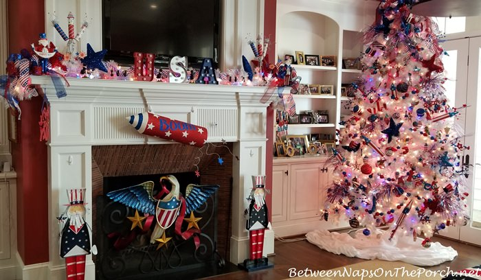 Fireplace Decorated for the 4th of July