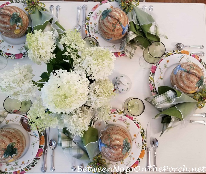 Limelight Hdrangea Centerpiece, Summer Table Setting