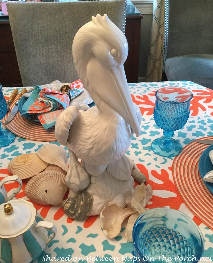 Pelican Centerpiece for Beach-Themed Table Setting
