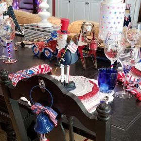 Red, White, Blue Bells, Chair Back Decoration