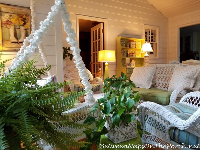 Screened Porch Decorated for Summer