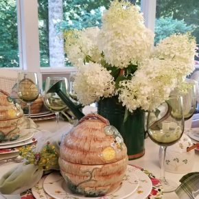 Spring Tablescape, Kim Parker Floral Charger Plates, Bee Skep Tureens and Bee Flatware
