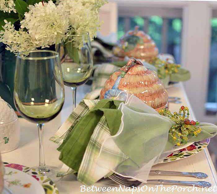 Summer Dining, Butterfly Napkin Rings and Bee Skep Soup Tureens